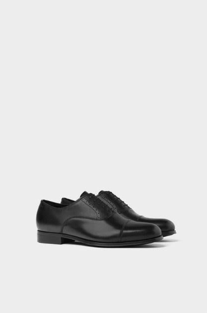 ZARA  LEATHER BLACK SMART SHOES - houseofhighness