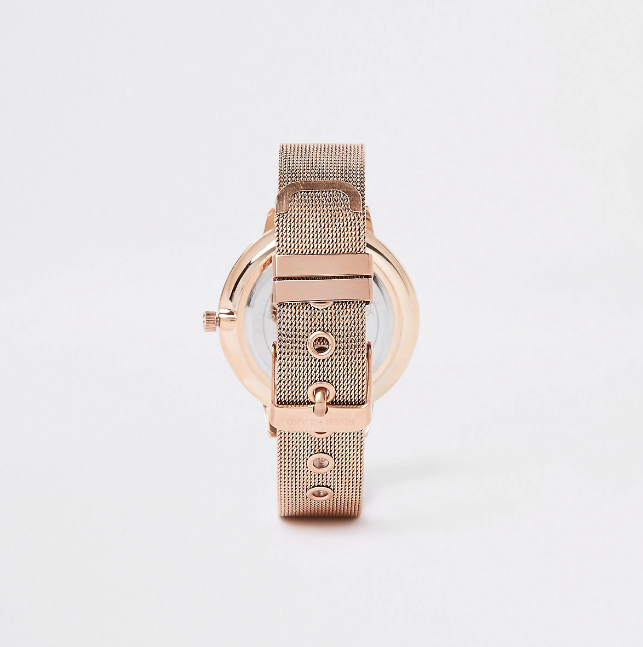 River Island Rose gold diamante mesh strap round watch - houseofhighness