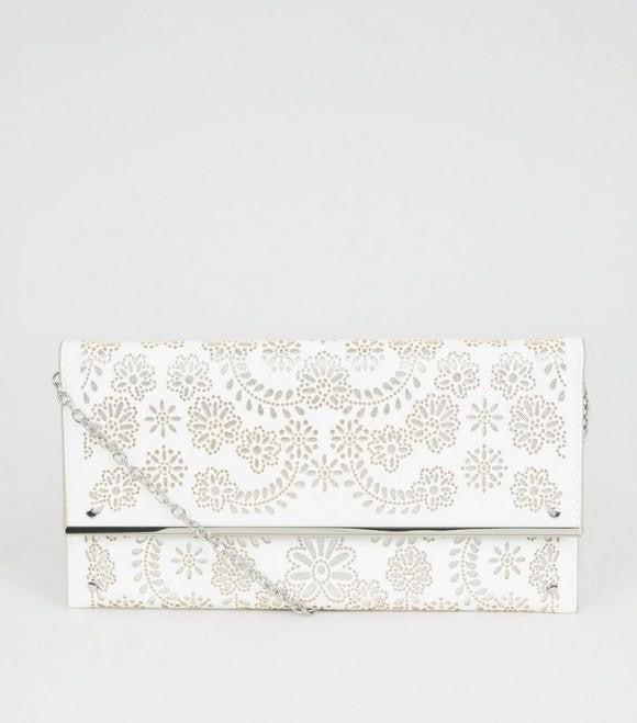 White Laser Cut Clutch Bag - houseofhighness
