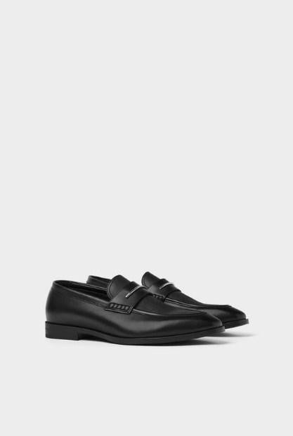 ZARA BLACK LOAFERS WITH METALLIC APPLIQUES - houseofhighness