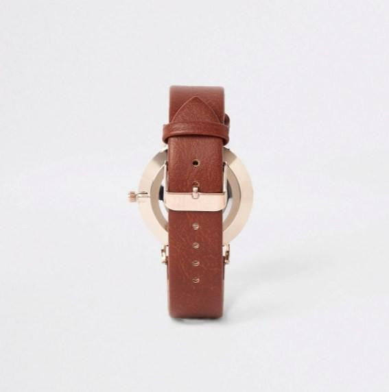 Light brown gold tone face watch - houseofhighness