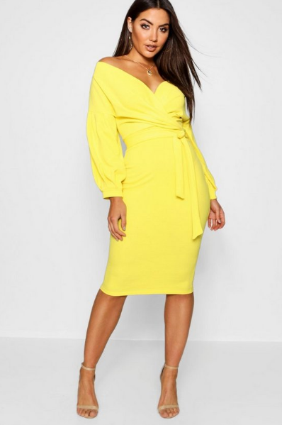 BooHoo Off Yellow Shoulder Wrap Midi Bodycon Dress - houseofhighness