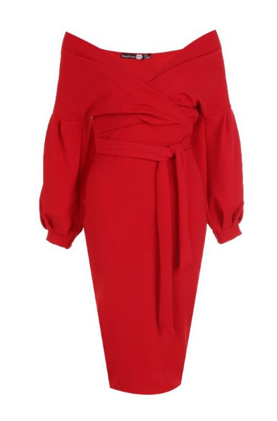 BooHoo Off Red Shoulder Wrap Midi Bodycon Dress - houseofhighness