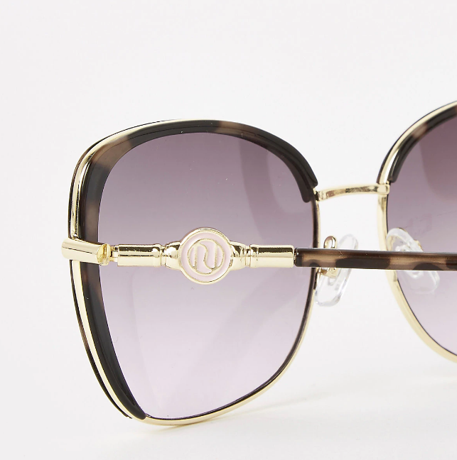 River Island Brown tortoiseshell metal trim sunglasses - houseofhighness