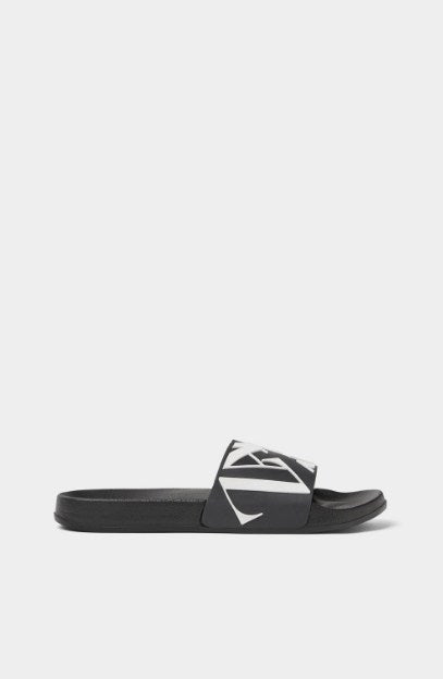 ZARA BLACK SLIDE SANDALS WITH LOGO - houseofhighness