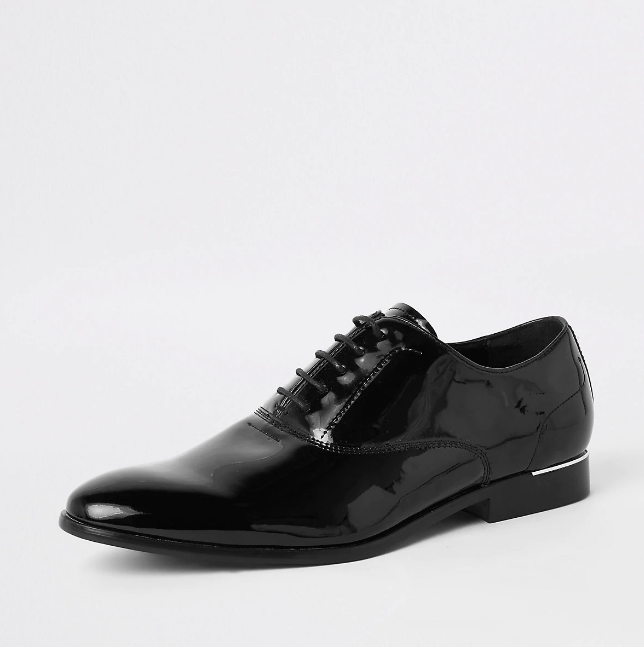 River Island Black patent lace-up derby shoes - houseofhighness