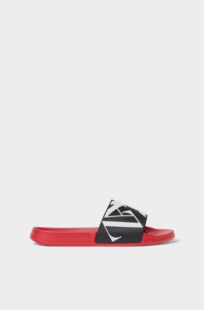 ZARA RED SLIDE SANDALS WITH LOGO - houseofhighness