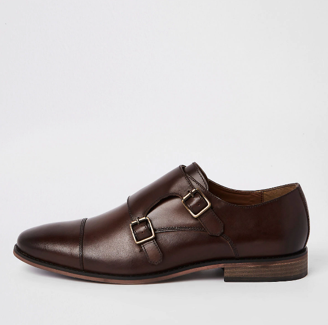 River Island Dark brown leather monk strap derby shoes - houseofhighness