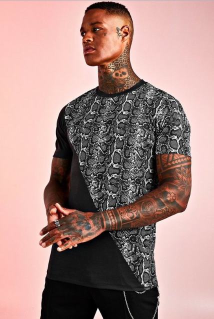 BooHoo MUSCLE FT SPLICED ANIMAL PRINT T-SHIRT - houseofhighness