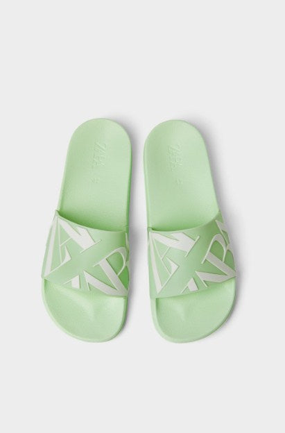 ZARA LIME SLIDE SANDALS WITH LOGO - houseofhighness
