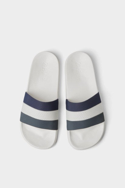ZARA WHITE THREE-TONE SLIDES - houseofhighness