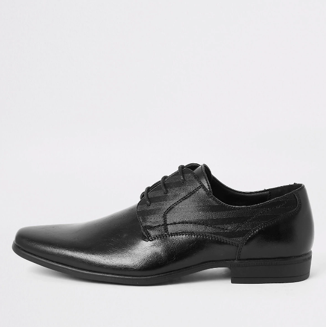 River Island Black  embossed derby shoes - houseofhighness
