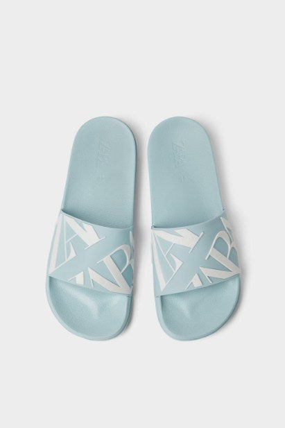 ZARA BLUE SLIDE SANDALS WITH LOGO - houseofhighness
