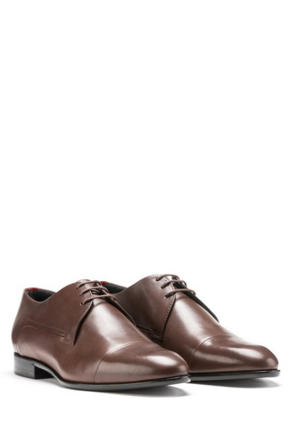 Leather cap-toe Derby shoes with stitch-and-turn seams - houseofhighness