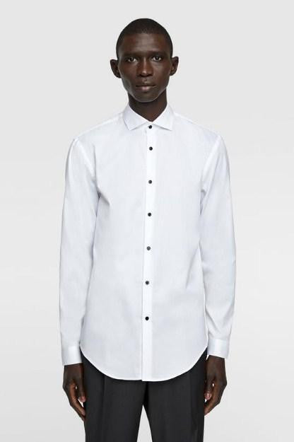 ZARA WHITE TEXTURED BUTTON-UP SHIRT - houseofhighness