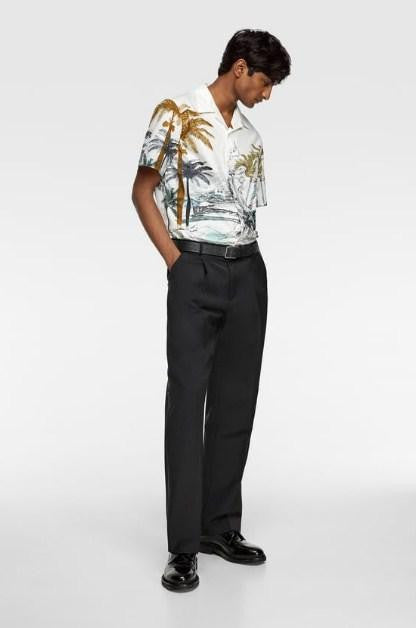 ZARA POPLIN SHIRT WITH PALM TREE PRINT - houseofhighness