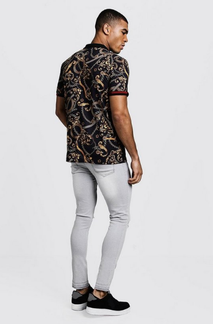 BooHoo POLO WITH BAROQUE PRINT & SLEEVE DETAIL - houseofhighness