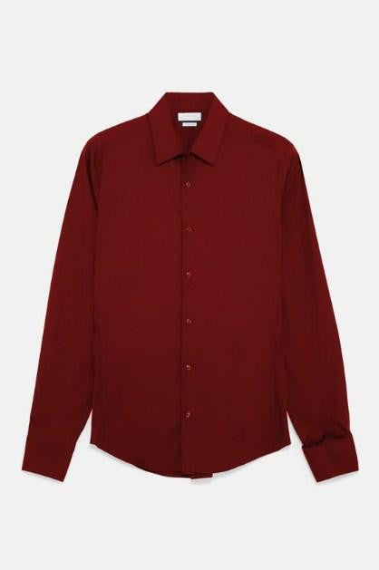 ZARA BURGUNDRY BASIC SUPER SLIM FIT SHIRT - houseofhighness