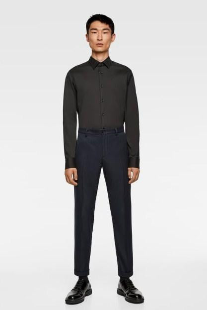 ZARA BLACK BASIC SUPER SLIM FIT SHIRT - houseofhighness
