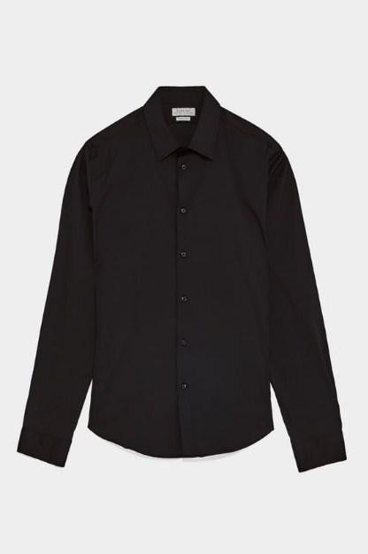 ZARA BLUE BASIC SUPER SLIM FIT SHIRT - houseofhighness