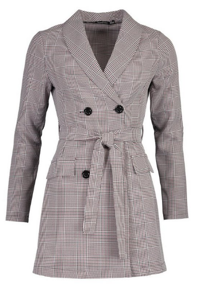 BooHoo Dog Tooth Check Double Breasted Belted Blazer Dress - houseofhighness