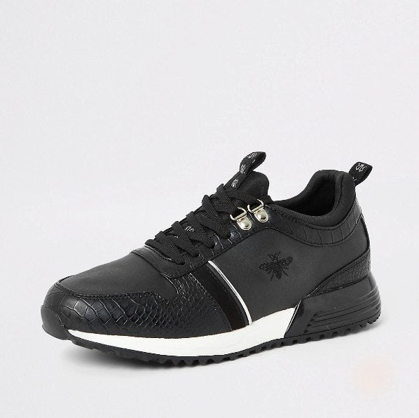 Black croc embossed lace-up runner trainers - houseofhighness