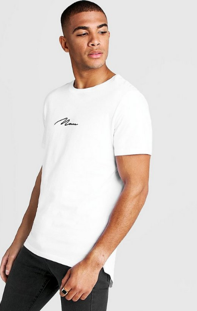 Boohoo MAN SIGNATURE LONGLINE DROP TAIL T-SHIRT - houseofhighness