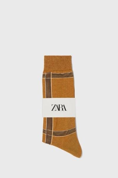 ZARA BROWN CHECK COTTON SOCKS - houseofhighness