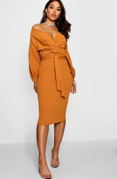 BooHoo Off Shoulder Sand Wrap Midi Dress - houseofhighness
