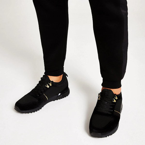 Black velvet lace-up runner trainers - houseofhighness