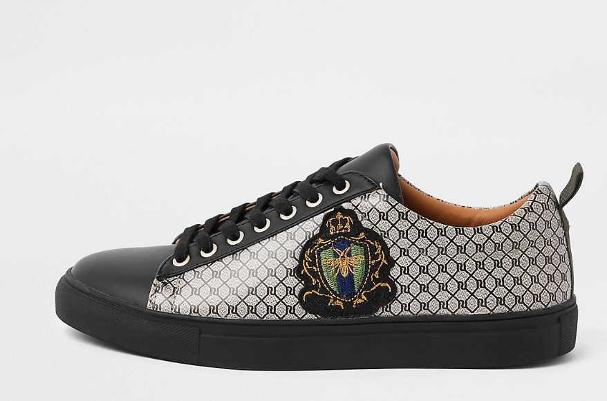 Black RI monogram low top cupsole trainers - houseofhighness