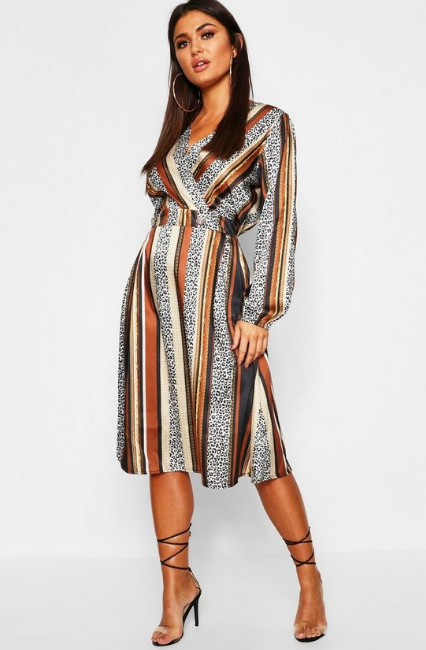 BooHoo Leopard Stripe Button Front Midi Dress - houseofhighness