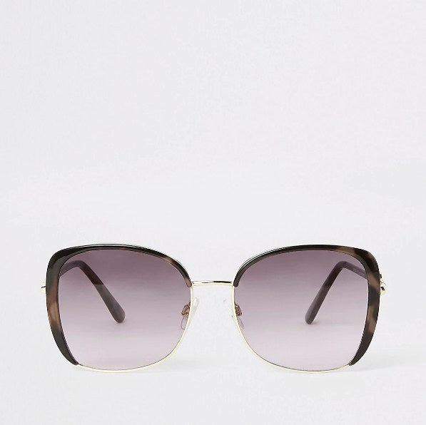 Brown tortoiseshell metal trim sunglasses - houseofhighness