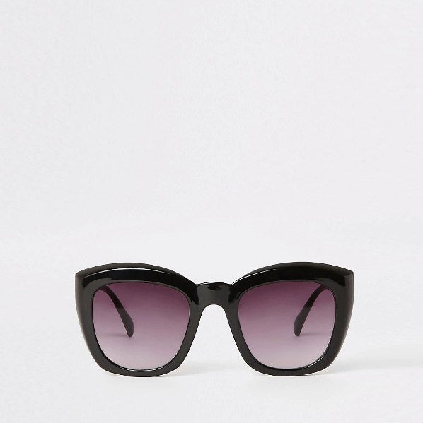 Black smoke lens square glam sunglasses - houseofhighness