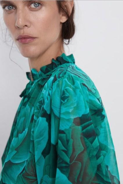ZARA GREEN FLORAL PRINT TOP - houseofhighness