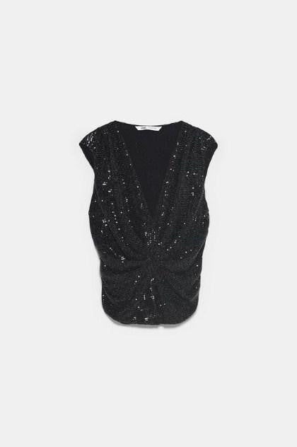 ZARA BLACK EMBELISSHED PRINTED TOP - houseofhighness