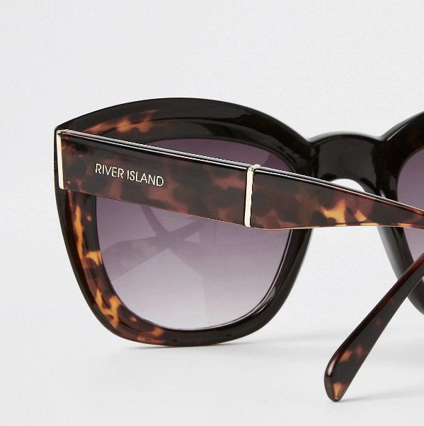 Brown tortoiseshell square glam sunglasses - houseofhighness