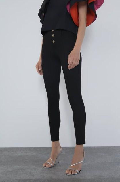 ZARA LEGGINGS WITH GOLD BUTTONS - houseofhighness