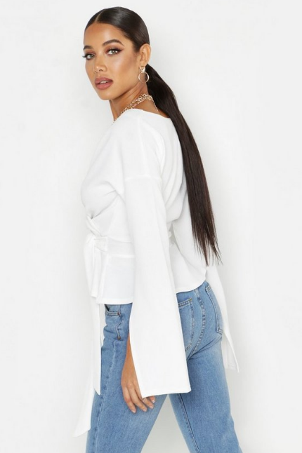 BooHoo Crepe Split Sleeve Ruffle Shoulder Top - houseofhighness