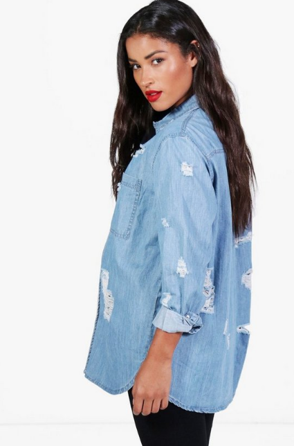 BooHoo Maternity Ultra Distressed Oversized Denim Shirt - houseofhighness