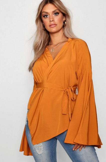 BooHoo Plus Wide Sleeve Wrap Tie Blouse - houseofhighness