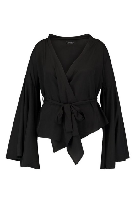BooHoo Plus Black Wide Sleeve Wrap Tie Blouse - houseofhighness