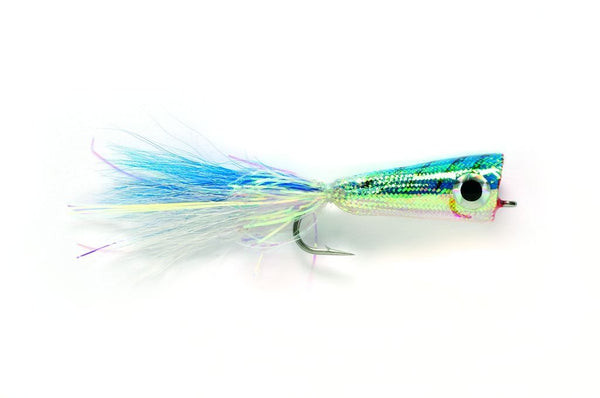 Blue & White Mylar Popper Fly