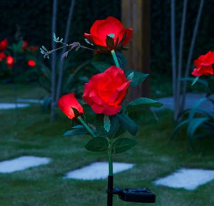 Bulk pack 4x Solar Powered LED Rose Stake