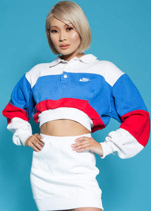 REPURPOSED VINTAGE NIKE CROPPED PULLOVER (RED WHT BLUE)