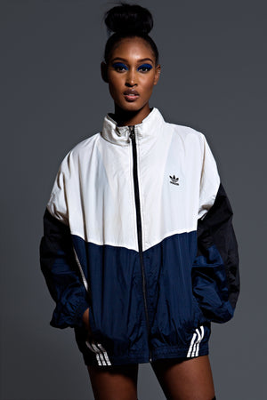 VINTAGE ADIDAS LONG WINDBREAKER (NVY BLK WHT)