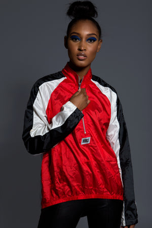 VINTAGE NIKE LONG PULLOVER WINDBREAKER (SHINY RED BLK WHT)