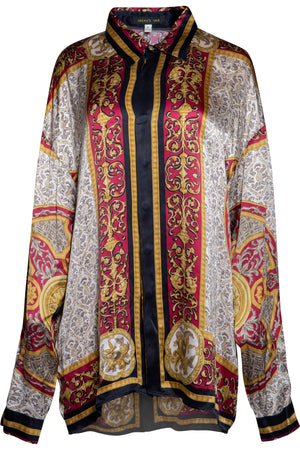 VINTAGE BAROQUE PRINT BLOUSE (GOLD WINE)