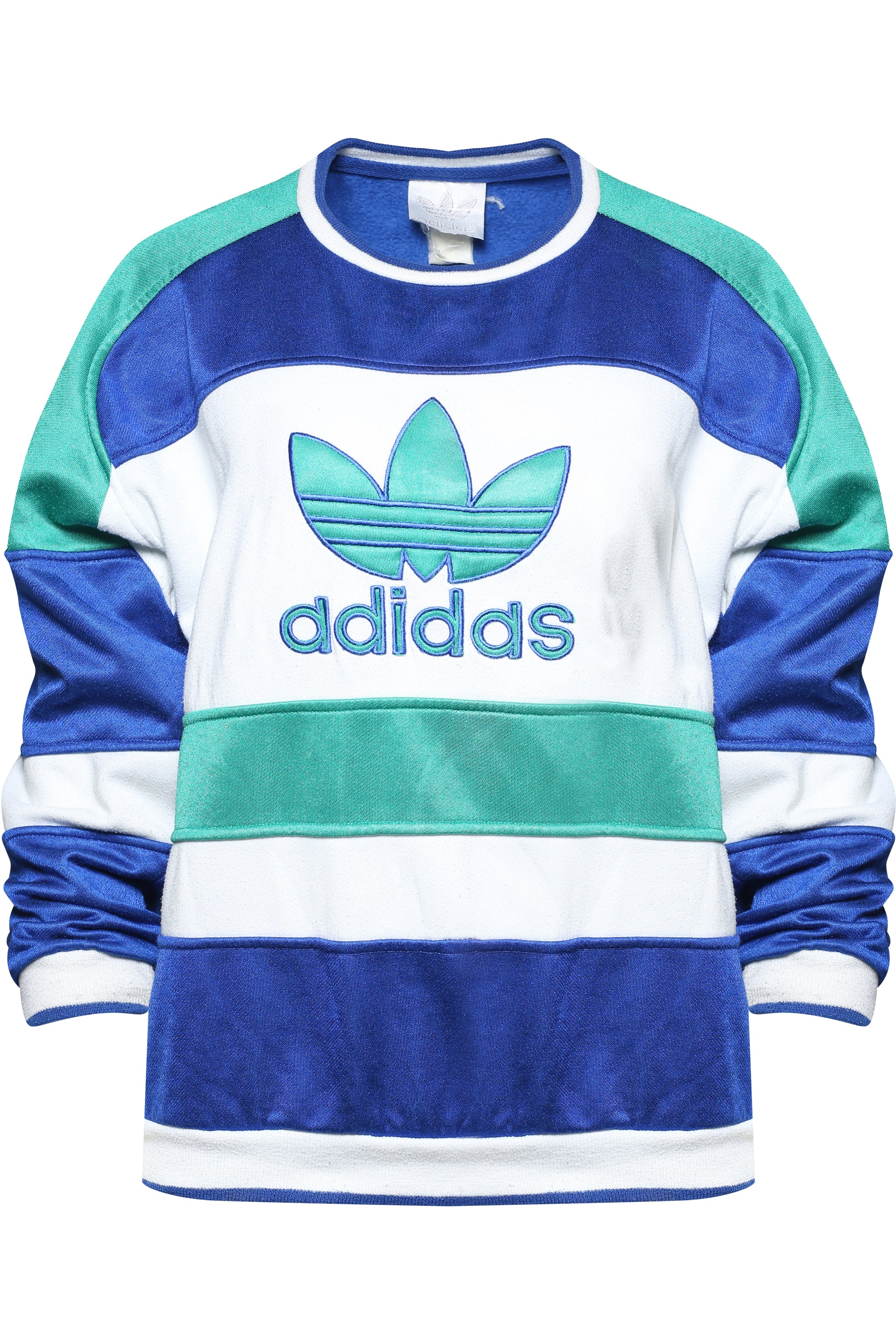 Vintage Adidas 90s Sweatshirt in Colour Block w Logo Front