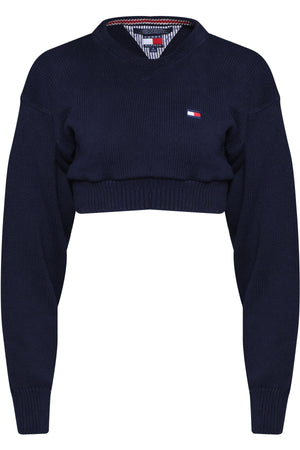 REPURPOSED VINTAGE TOMMY HILFIGER NVY CROPPED SWEATER KNIT